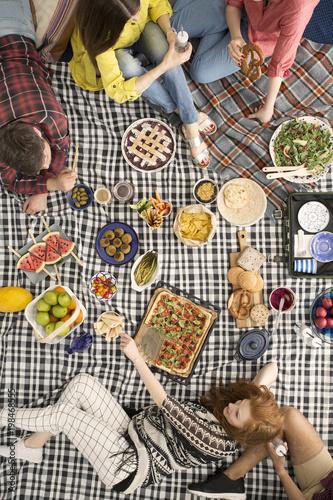 Vegan people talking and eating