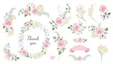 Set of floral branch, wreaths, heart. Flower pink rose, leaves. Wedding concept. Floral poster, invite. Vector arrangements for greeting card or invitation design background - 198470199