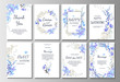 Set of card with blue wild flowers, leaves. Wedding ornament concept. Floral poster, invite. Vector decorative greeting card or invitation design background