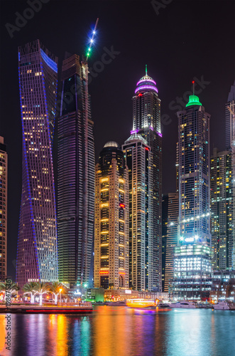 Foto op Plexiglas Dubai Modern night sity landscape with skyscrapers
