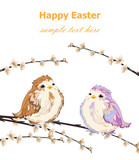 Happy Easter card with Cute Little sparrows pattern Vector. Vintage retro spring backgrounds
