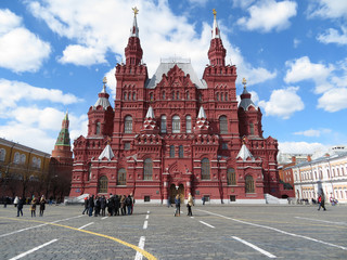 Tourists on Red square in Moscow. The building of the State historical Museum