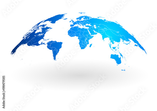 Fototapeta blue world map globe isolated on white background