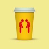 Coffee cup with two sleepy man silhouette. coffee take away