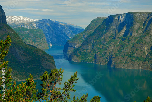 Fotobehang Groen blauw Norway. The Sognefjord is Norway's longest and deepest fjord.