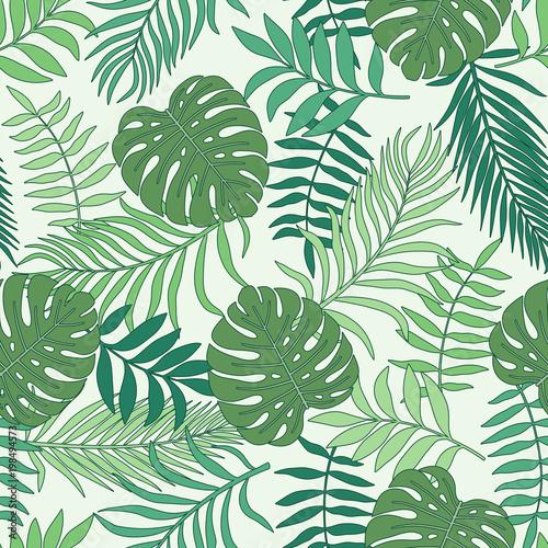 tropischer-hintergrund-mit-palmblattern-nahtloses-blumenmuster-sommer-vektor-illustration