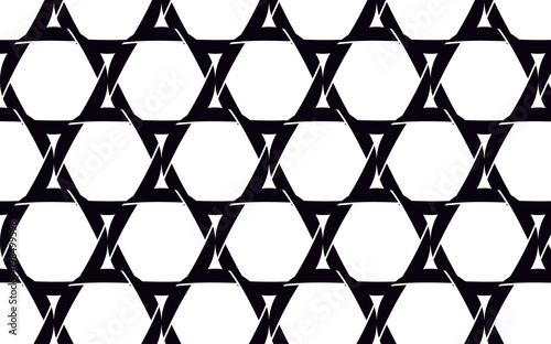 Black, beautiful stars of David made of black camera diaphragms, seamless texture. Pattern. illustration. © Bolbik
