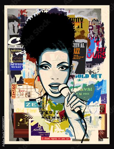 In de dag Art Studio Afro-american jazz singer on wallpaper