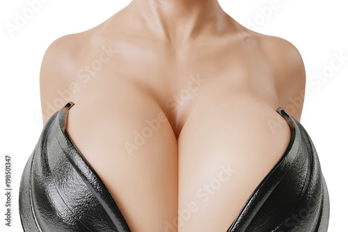 © PixlMakr - Fotolia.com Busty woman with big cleavage in leather corset - Close-up