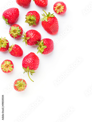 Seamless pattern with strawberry. Tropical abstract background. Strawberry on the white background - 198501504