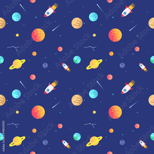 Seamless adventure space pattern with rockets, planets, stars and dashed traces over the dark night sky background. Flat design Space