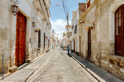 Colonial houses in an empty alley of the Yanahuara neighborhood in Arequipa (Peru)