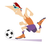 Smiling young man playing football isolated illustration. Cartoon football player running with the ball isolated on white illustration