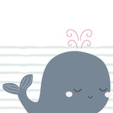 Childish print with cute little whale. Vector hand drawn illustration. - 198523909