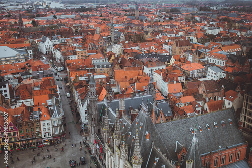 Foto op Canvas Brugge Panoramic view of Bruges from the tower, Belgium