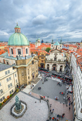 Prague, Czech Republic - October 10, 2017: Crusaders Square, view from Old Town Bridge Tower, Prague Czech Republic.  Prague city center top view.