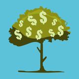 Abstract dollar tree illustration. Flat design. Isolated on light-blue