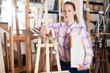 Female customer un art shop