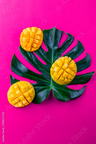 Foto op Plexiglas Roze Creative layout made of summer tropical fruits mango and tropical leaves on pink background. Flat lay. Tropical food concept.