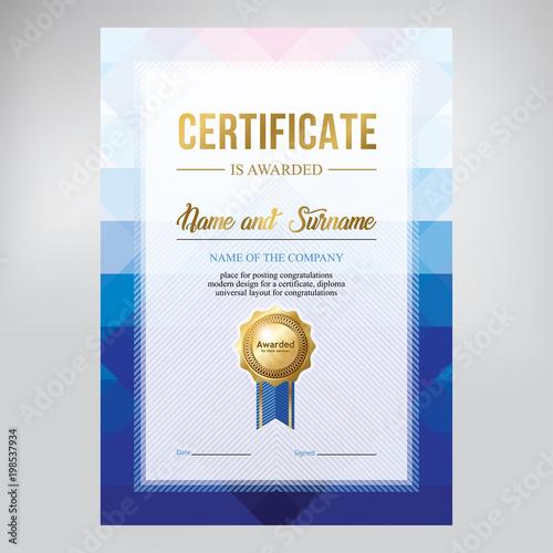 certificate design diploma template creative geometric blue