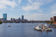 View of the Boston and the Charles River. Tour boat on the Charles River, Boston