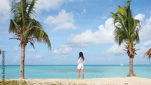 Young beautiful woman on tropical seashore. Happy girl background the blue sky and turquoise water in the sea on caribbean island. © travnikovstudio