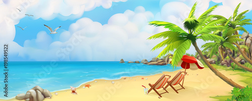 Sea panorama. Bay, tropical beach. Vector background - 198549522