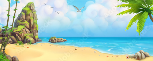Sea panorama. Bay, tropical beach. Vector background - 198549539