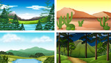 Four nature scenes with tree and mountains - 198559341
