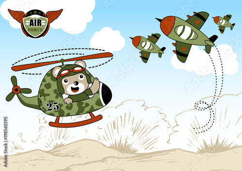 Fototapeta Airforce cartoon with cute helicopter pilot. Eps 10