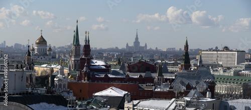 Foto op Aluminium Moskou Панорама Москвы с высоты птичьего полета.