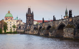 Charles Bridge over Vltava river in Prague