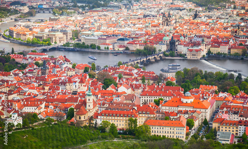 Poster Praag Aerial view of old Prague in summer day