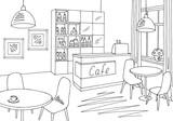 Cafe bar graphic black white interior sketch illustration vector - 198561736