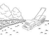 Lawn mower garden graphic black white landscape sketch illustration vector - 198563314
