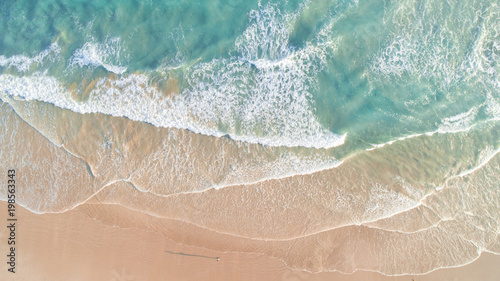 Aerial View of Waves and Beach Along Great Ocean Road Australia at Sunset - 198563343
