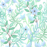 Seamless Pattern of Blue Flowers and Leaves - 198566701