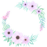 Vector Floral Wreath with Pink Flowers and Blue Leaves in Watercolor Style - 198566717