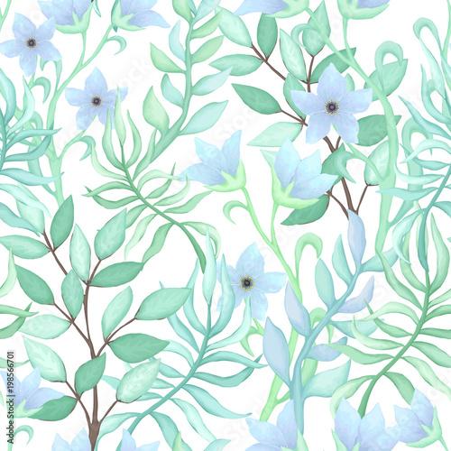 Bezszwowy wzór Błękitni kwiaty i liście