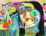 original digital art composition of women face, bird and red cat