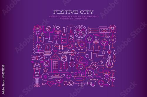 Plexiglas Abstractie Art Festive City