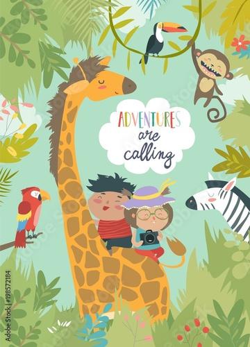 Children riding giraffe - 198572184