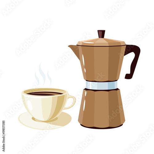 Breakfast, delicious start to the day  Retro geyser coffee maker and