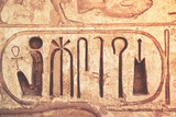 Detail from temple wall in Egypt. - 198577105