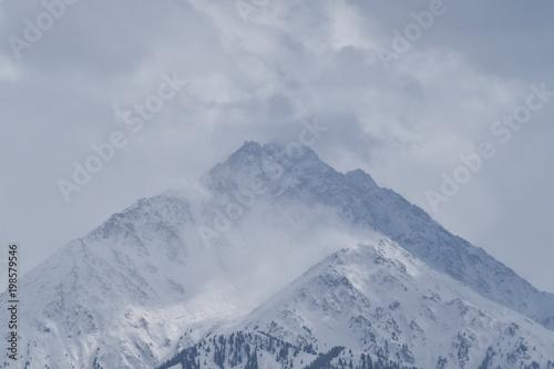 Rainy weather, view of the mountains through a window. Almaty, Kazakhstan, Qazaqstan. - 198579546
