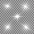 Glow light effect. Vector illustration. Christmas flash Concept. Vector illustration of abstract flare light rays. A set of stars, light and radiance, rays and brightness. Set of Vector glowing light.