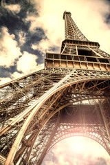 veduta vintage della Torre Eiffel