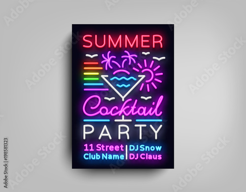 Aluminium Vintage Poster Cocktail Party poster neon. Flyer template design in neon style. Summer Cocktail Party Dance Invitations, Light Banner, Bright Brochure Nightlife, Nightly Neon Advertising. Vector illustration