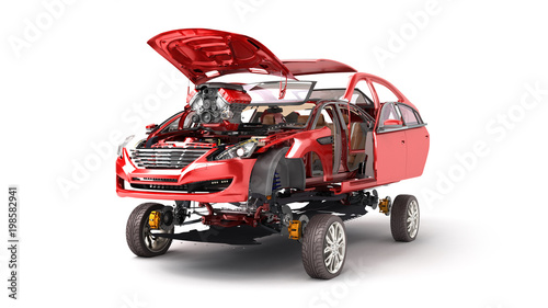 Fototapeta Modern concept of auto repair work Details of the red car on a white background 3D render