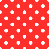 red white polkadot seamless pattern background vector